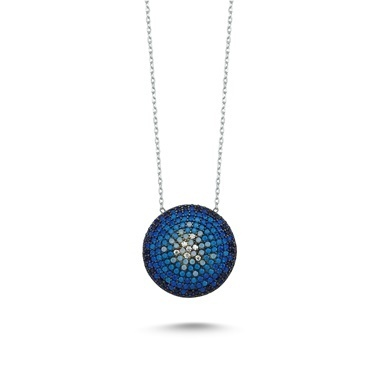Online Takı Mavi Taşlı Gümüş Kolye  Renkli